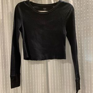 cropped black waffle knit tee